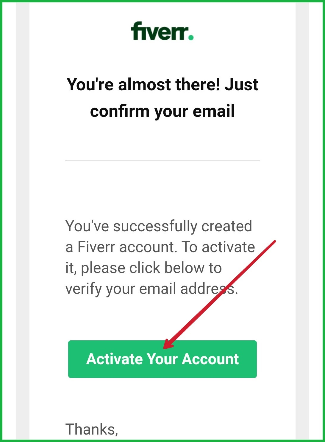 fiverr Activated Your Account